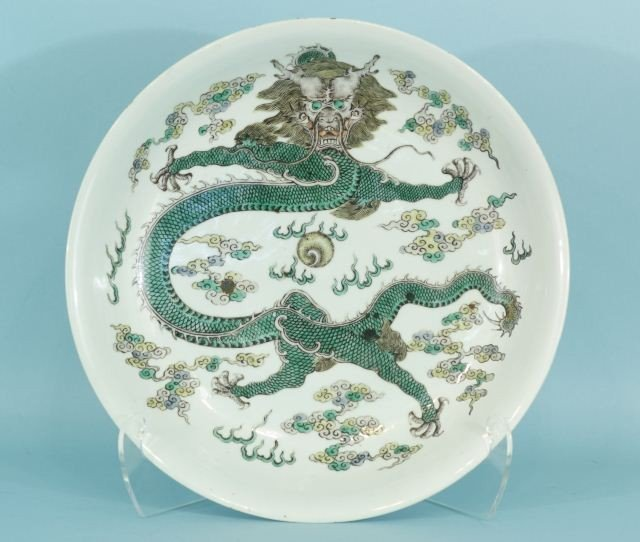 22: 19th CENTURY FAMILLE VERTE CHINESE CHARGER