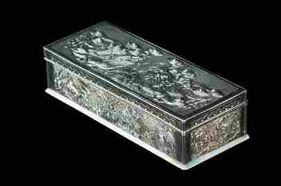 56: ANTIQUE CHINESE REPOUSSE STERLING SILVER BOX