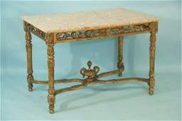 170: FRENCH GILDED BRECCIA MARBLE TOP CENTER TABLE