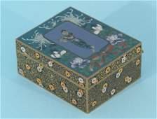 205: JAPANESE MEIJI PERIOD SILVER CLOISONNE BOX