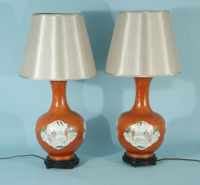 10A: PAIR OF ANTIQUE KATANI VASES CONVERTED TO LAMPS