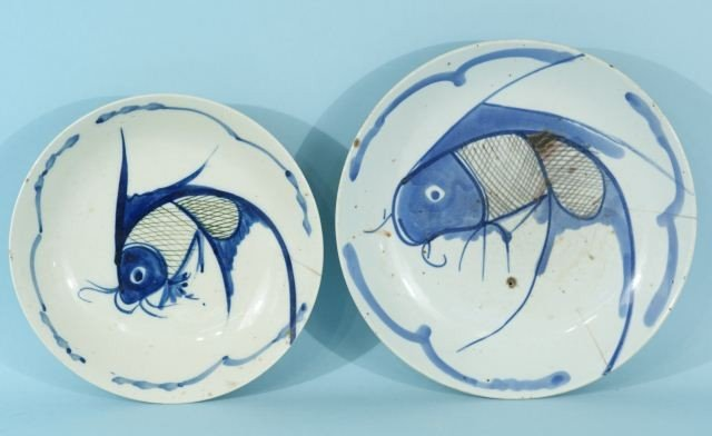 3: TWO CHINESE PORCELAIN BLUE AND WHITE FISH PLATES
