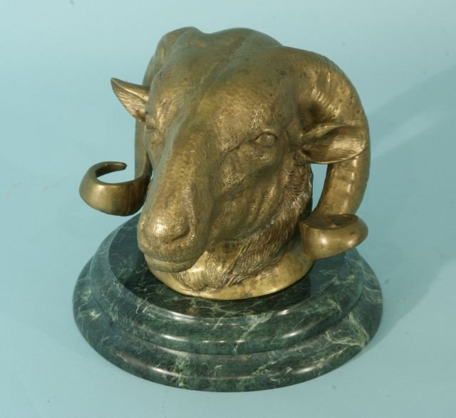 8: ANTIQUE FRENCH BRONZE RAM'S HEAD BUST