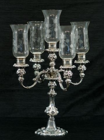 9: FIVE-CANDLE SILVERPLATE CANDELABRUM BY WALLACE