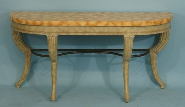 12: MAITLAND-SMITH FAUX MARBLE PAINTED CONSOLE TABLE