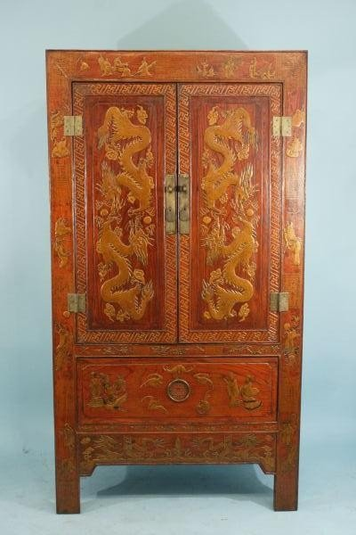 16: CHINESE LACQUERED DRAGON MOTIF CABINET
