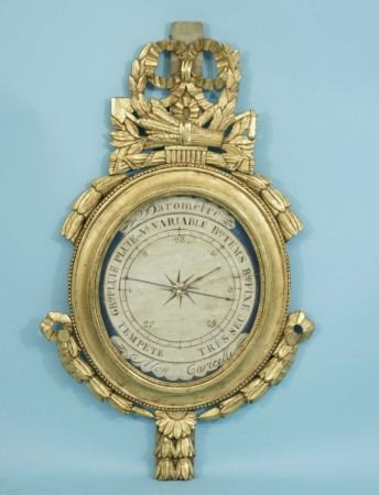 99: ANTIQUE FRENCH WOOD CARVED AND GILDED BAROMETER