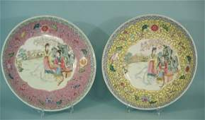 129 LOT OF TWO CHINESE ROSE FAMILE PORCELAIN CHARGERS