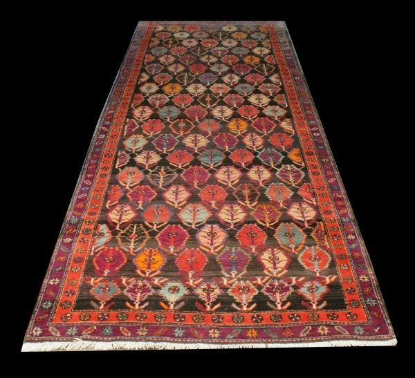 20A: COLORFUL FLORAL PATTERN HAND KNOTTED RUNNER