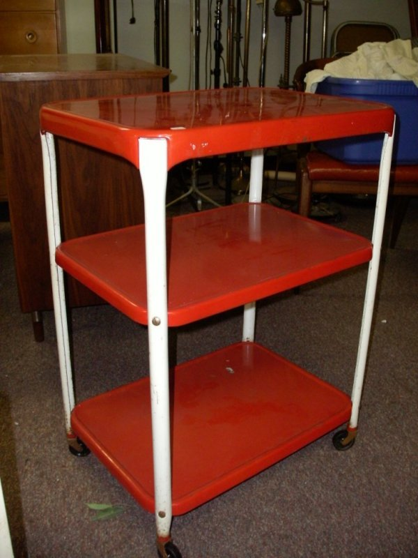 1: 1950'S RED AND WHITE METAL UTILITY CART