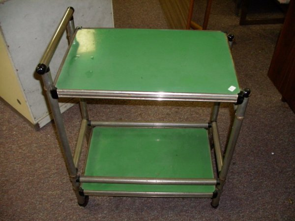 3: GREEN AND CHROME  CHILD'S UTILITY CART