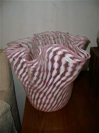 54: LARGE FAZZOLETTO  LATTICINO  VASE  IN PINK AND WHIT