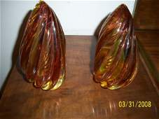 192: BAROVIER & TOSO MURANO 3 COLOR SOMMERSO BOOKENDS