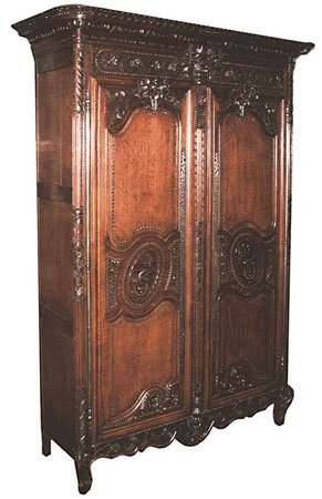 3: 18th C. French Normandy Carved Oak Wardrobe