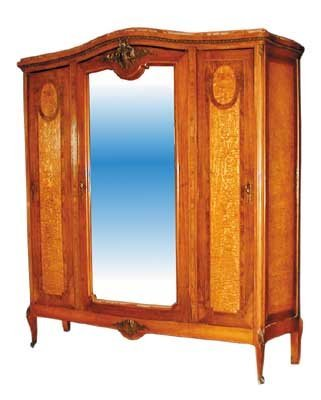8: Inlaid Italian Armoire with Bronze Ormolu