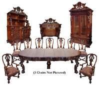 255: Fabulous 16-Pc. Walnut Rococo Dining Set