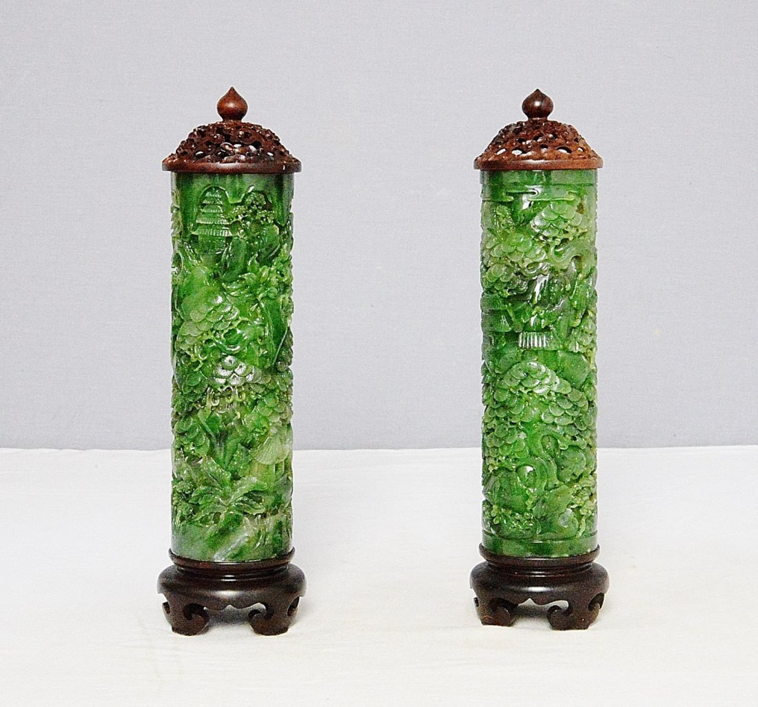 Pair of Well Hand Carved Russia Spinach Jadite Incense