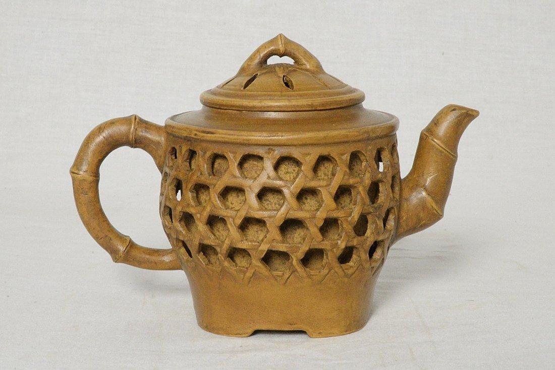 Chinese Ceramic Teapot With Studio Mark - 2