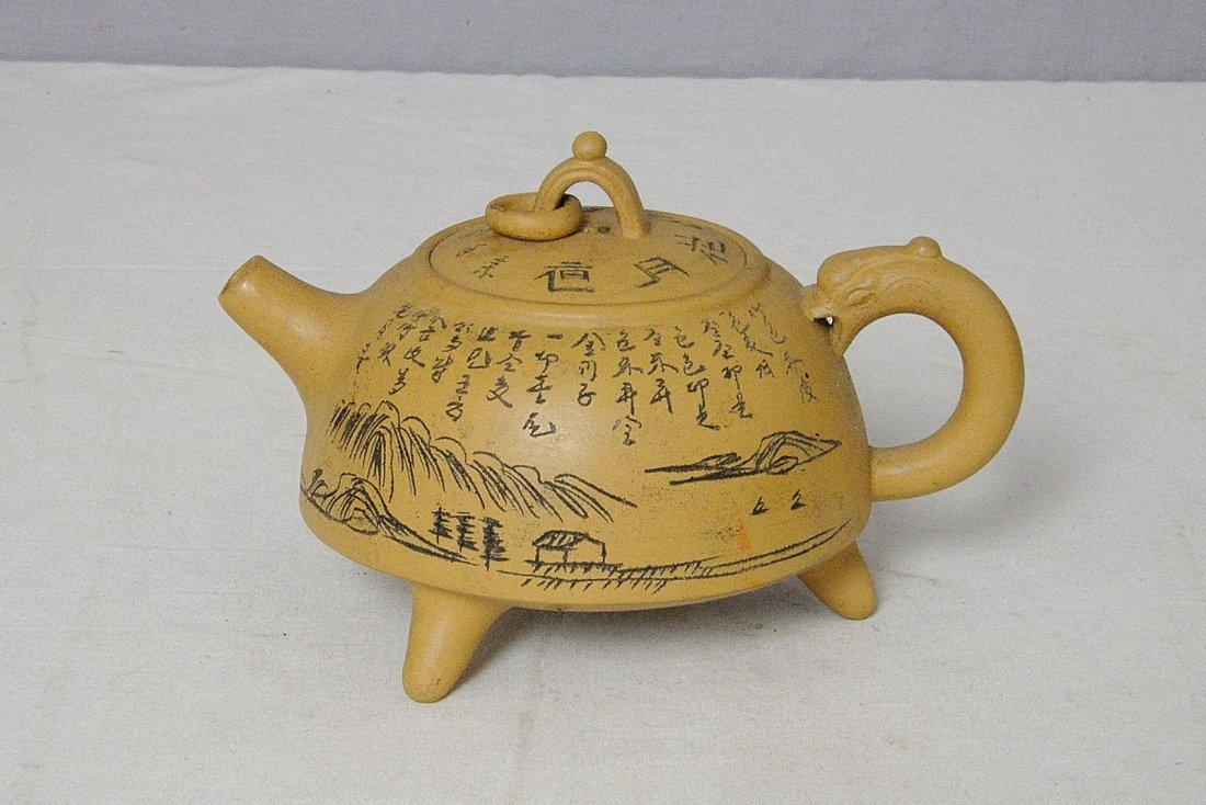 Chinese Ceramic Teapot With Studio Mark