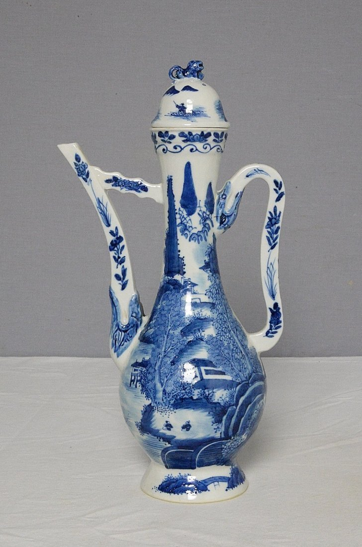 Chinese Blue and White Porcelain Teapot With Studio Mar