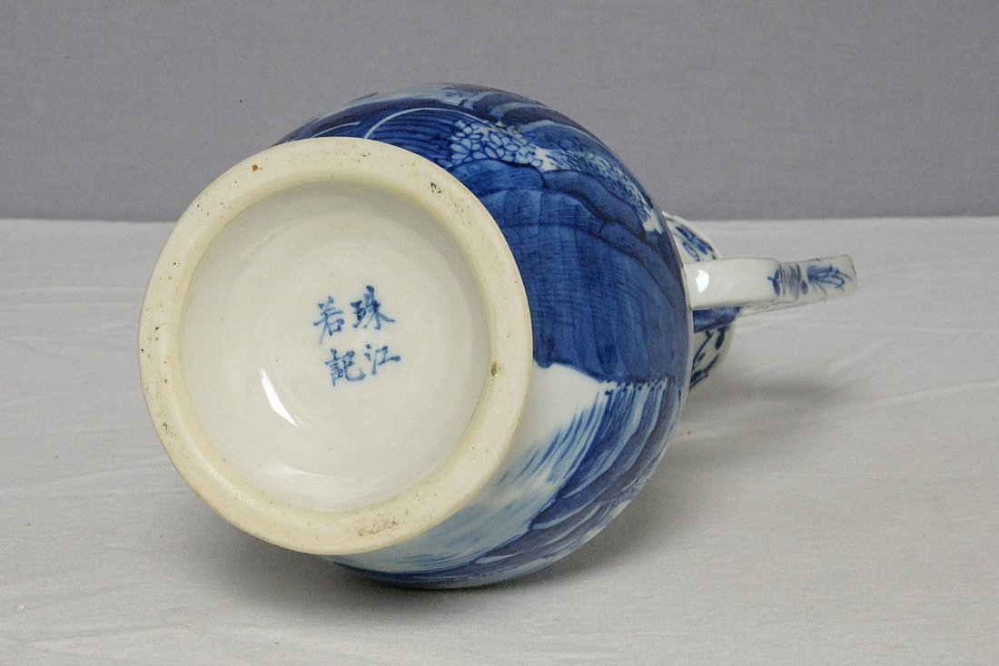 Chinese Blue and White Porcelain Teapot With Studio Mar - 6