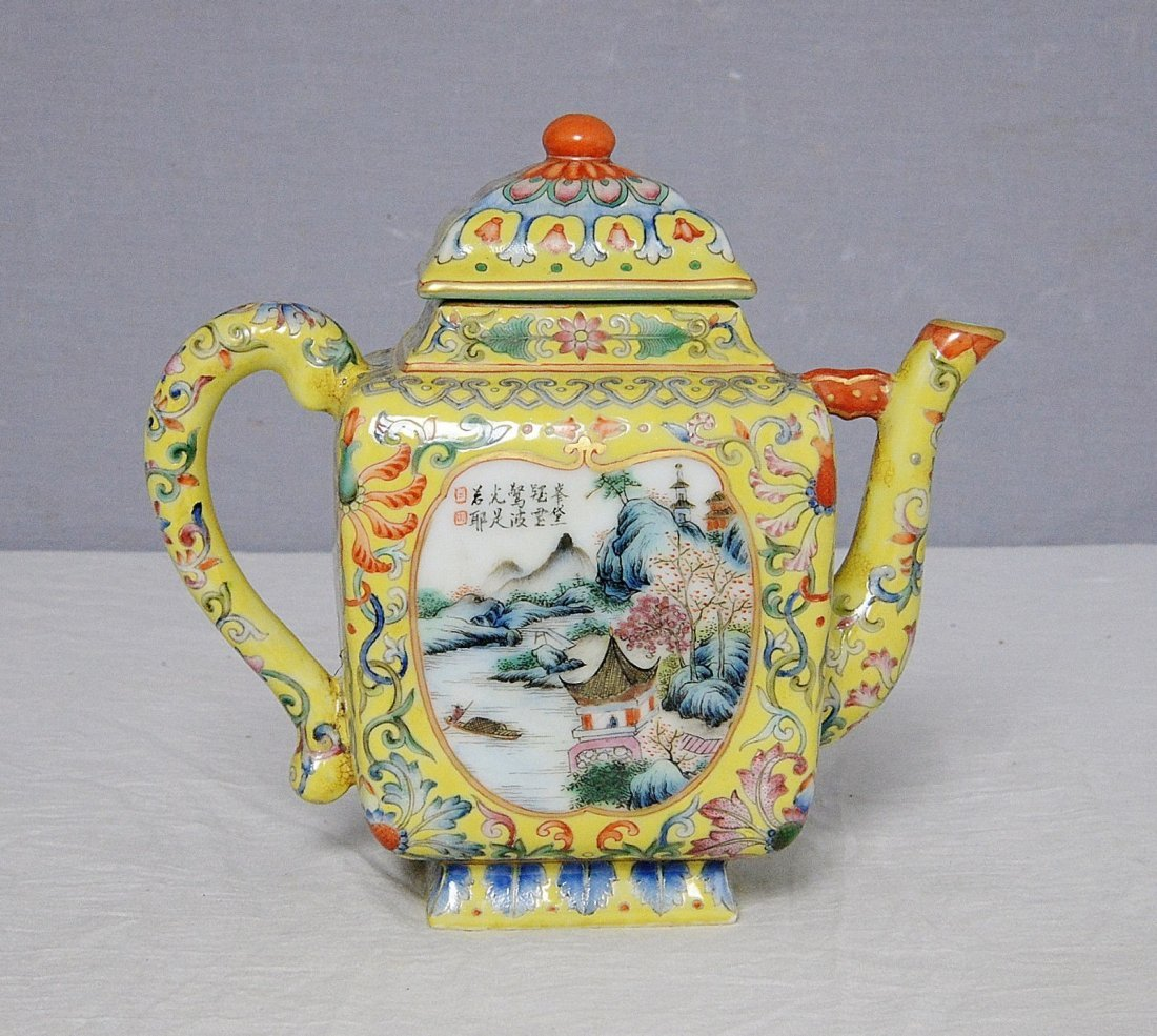 Chinese Famille Rose Porcelain Teapot With Mark - 4