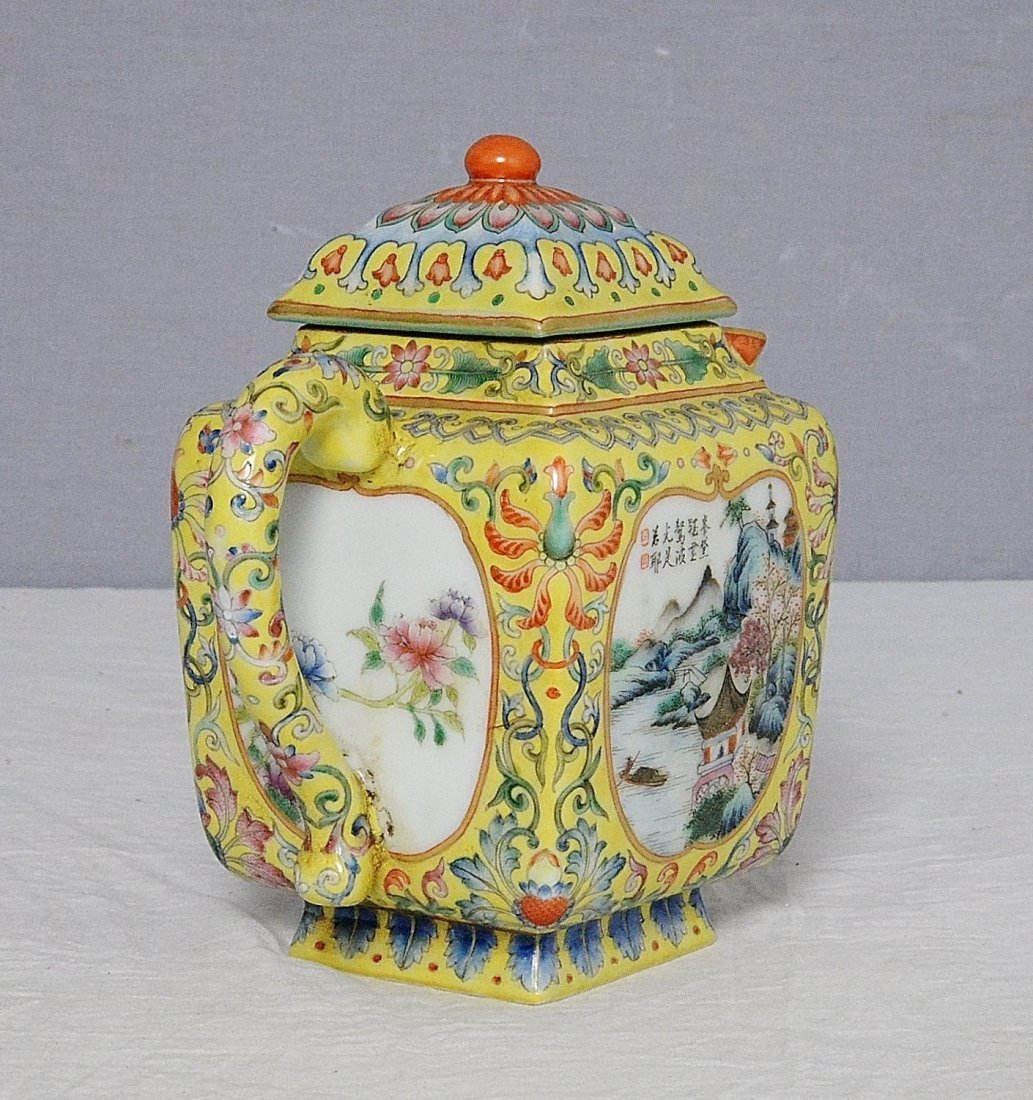 Chinese Famille Rose Porcelain Teapot With Mark - 6