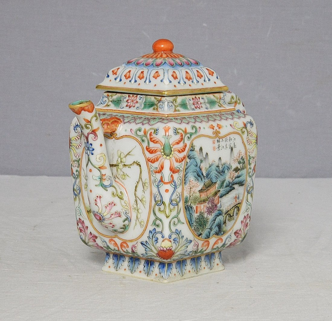Chinese Famille Rose Porcelain Teapot With Mark