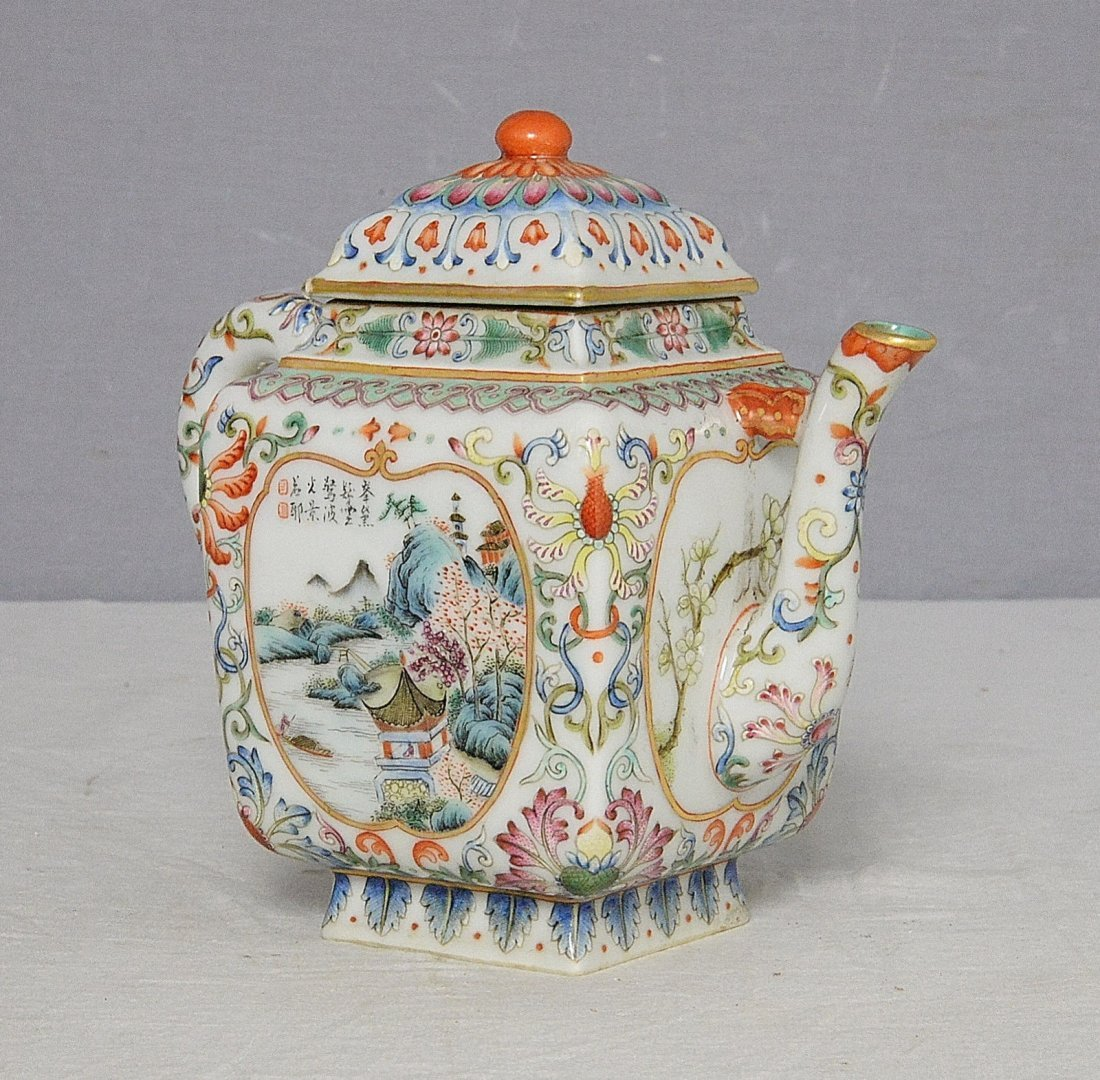 Chinese Famille Rose Porcelain Teapot With Mark - 2
