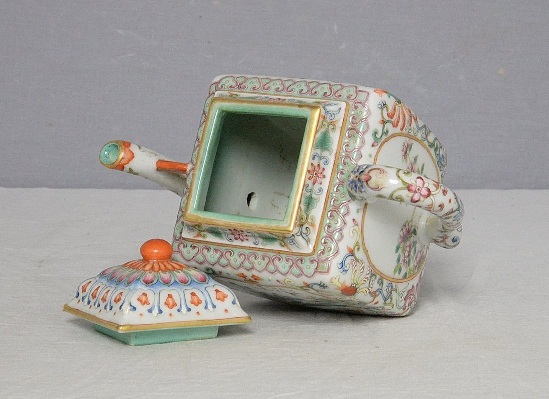 Chinese Famille Rose Porcelain Teapot With Mark - 3
