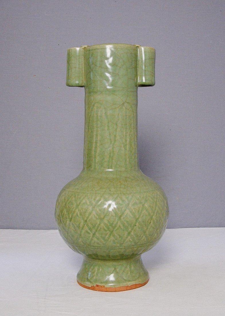 Chinese Celadon Green Glaze Crackle Porcelain Vase