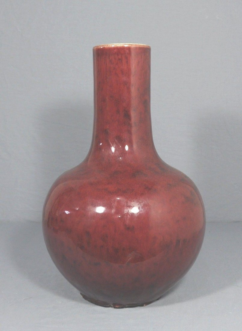 Chinese Red Glaze Porcelain Ball Vase