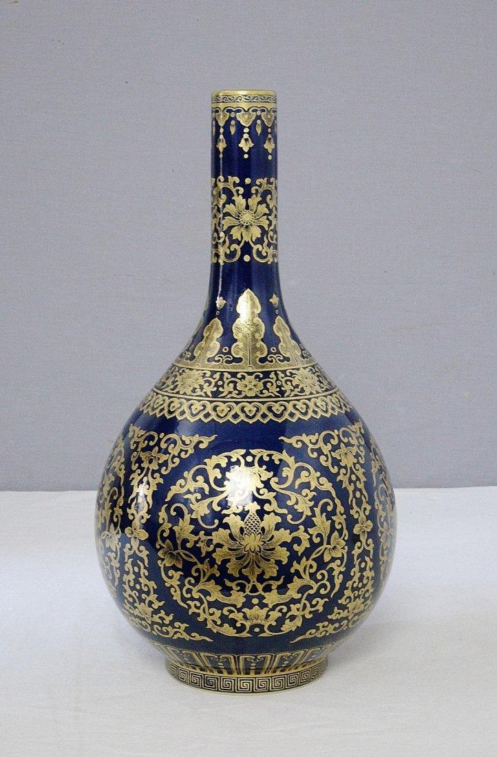 Chinese Monochrome Blue Glaze Porcelain Long Neck Vase