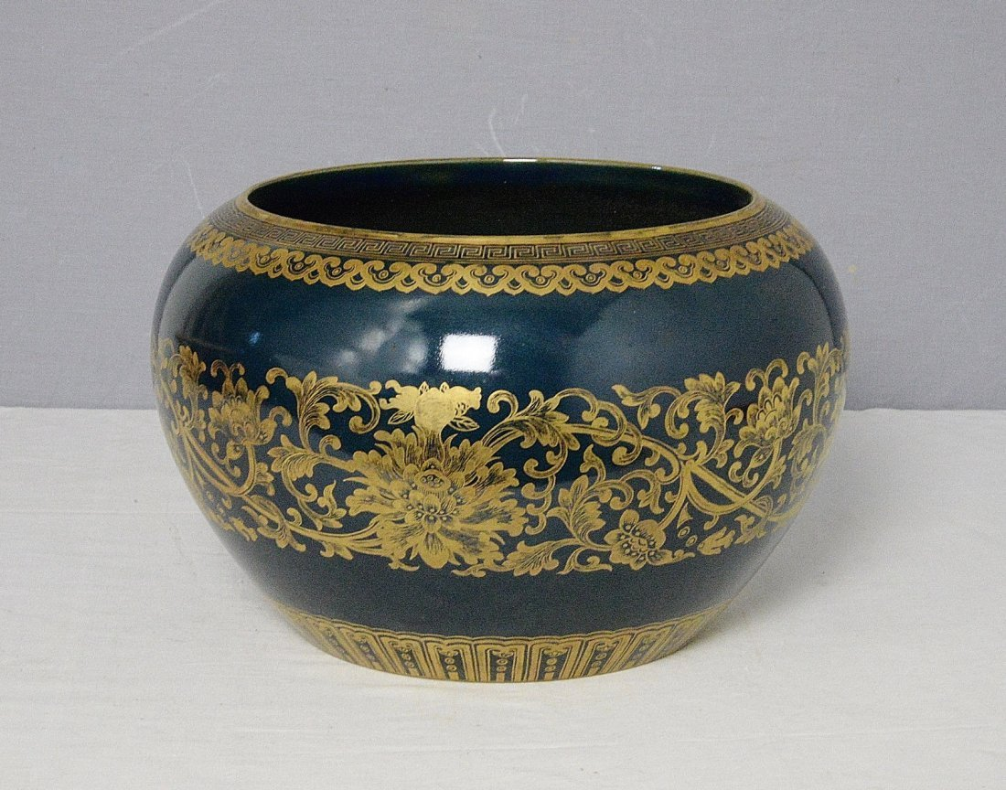 Chinese Monochrome Blue Glaze Porcelain Pot With Mark