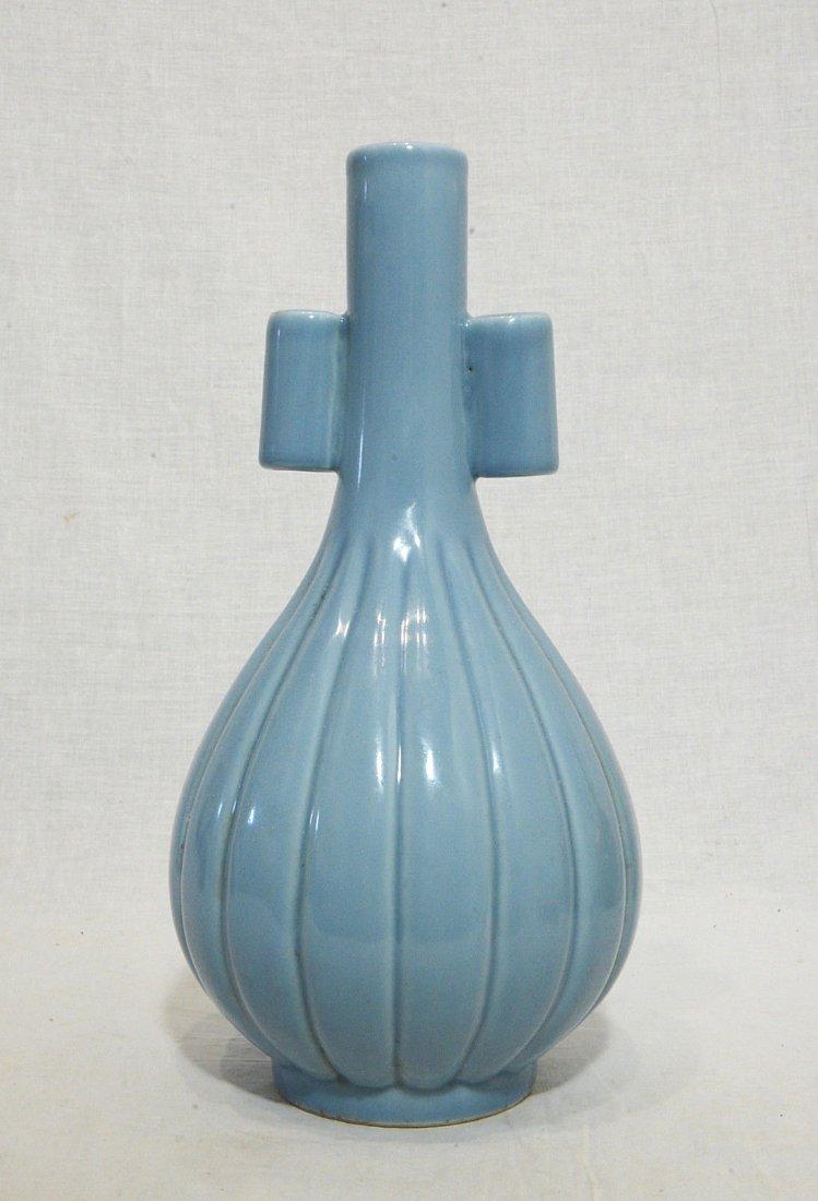 Chinese Blue Glaze Monochrome Long Neck Porcelain Vase