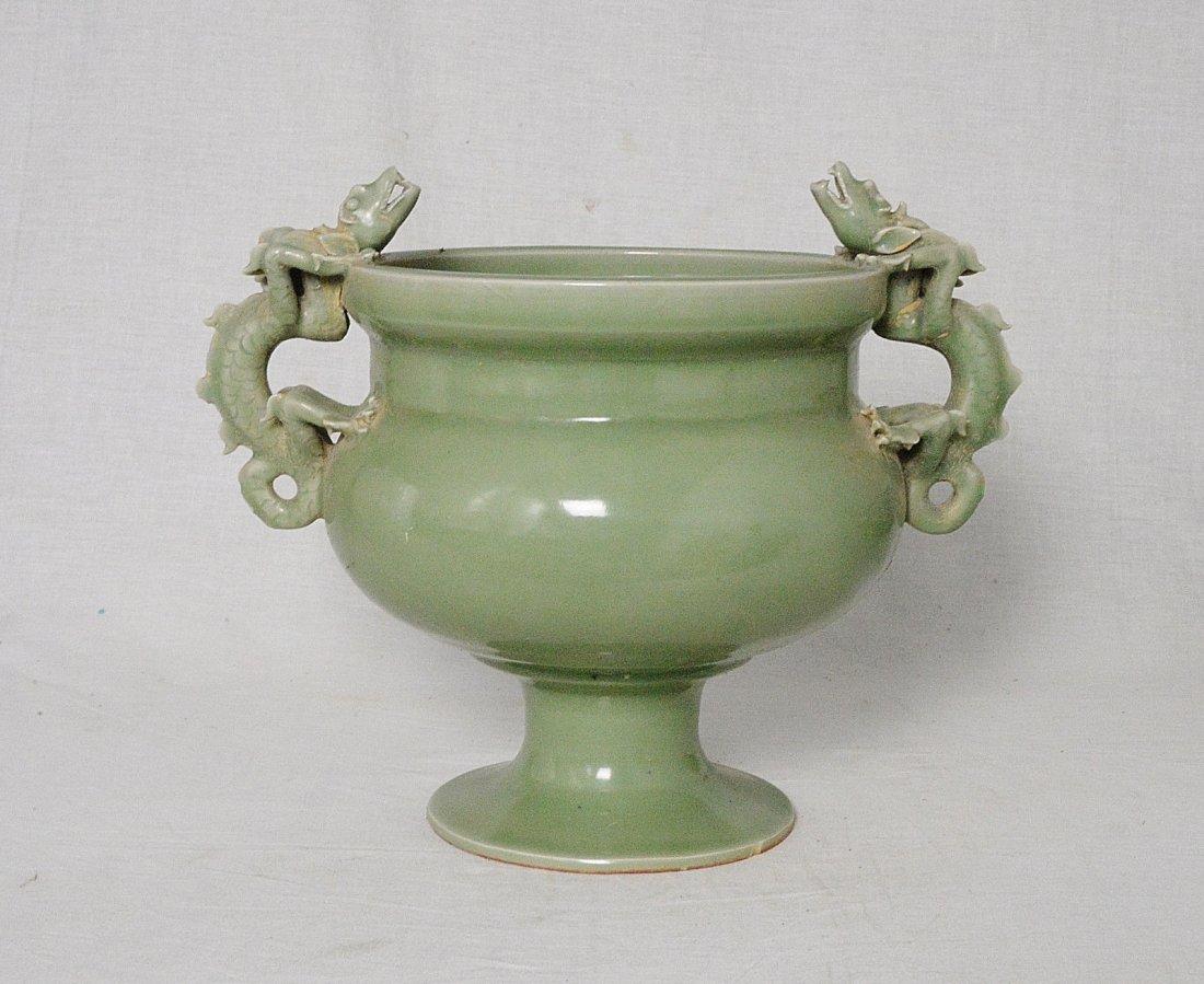 Chinese Monochrome Green Glaze Porcelain Censer