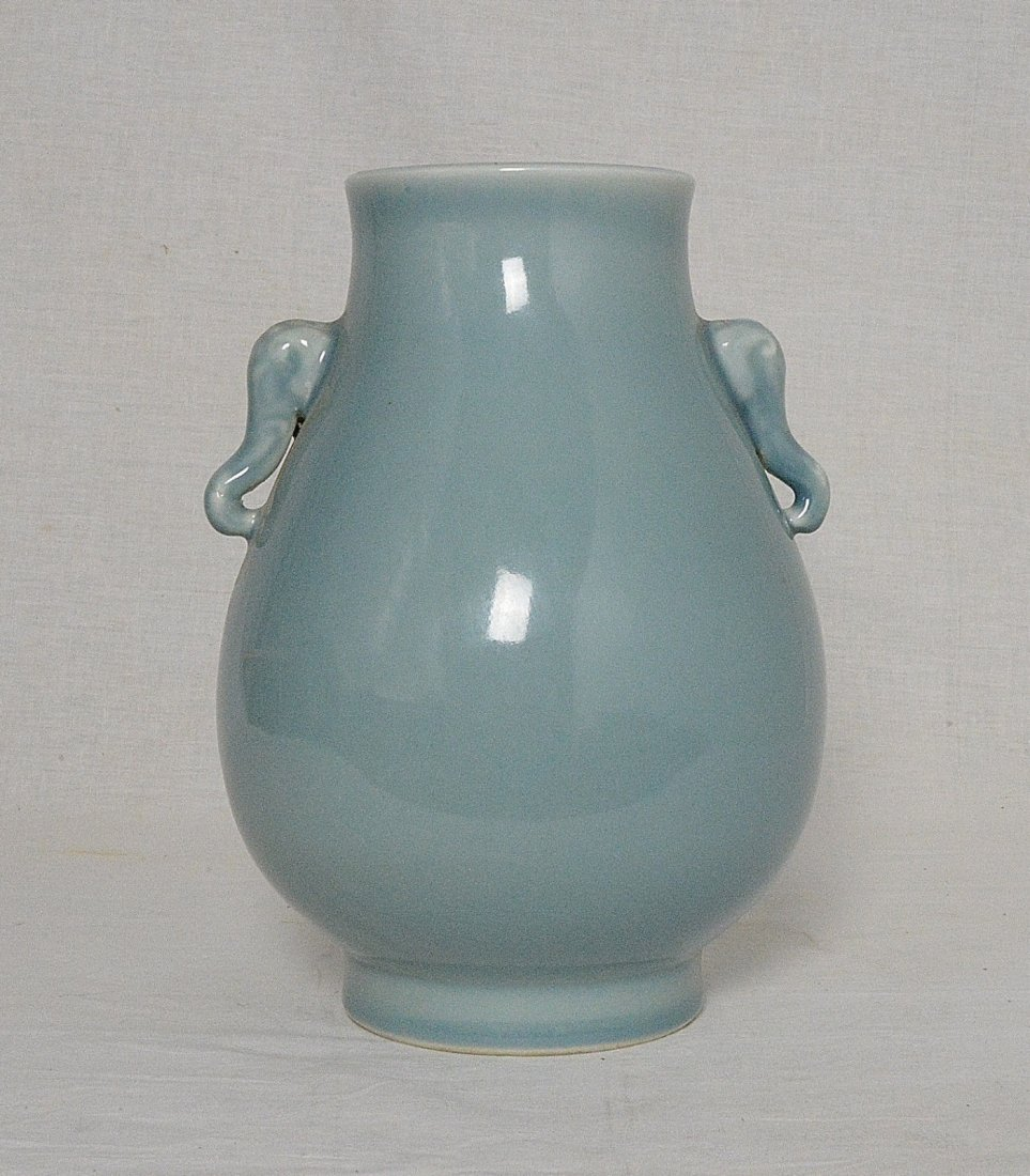 Chinese Monochrome Light Blue Glaze Porcelain Pot With