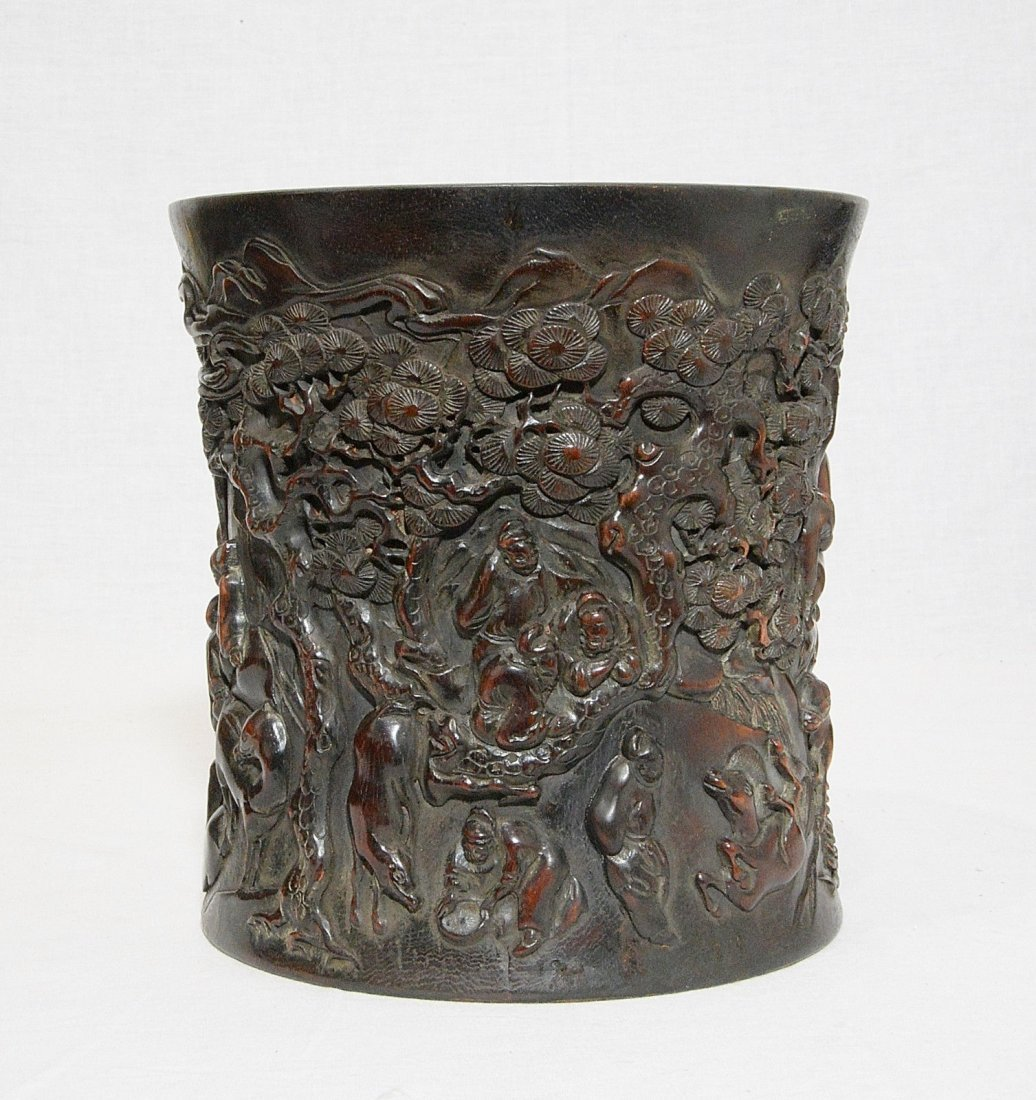 Well Hand Carved Chinese Hard Wood Brush Pot