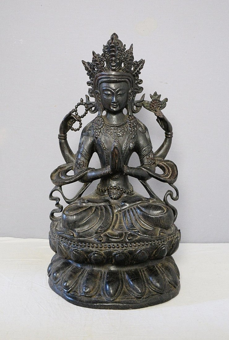 Large Chinese Hand Carved Hard Wood Statue of Kwan-Yin