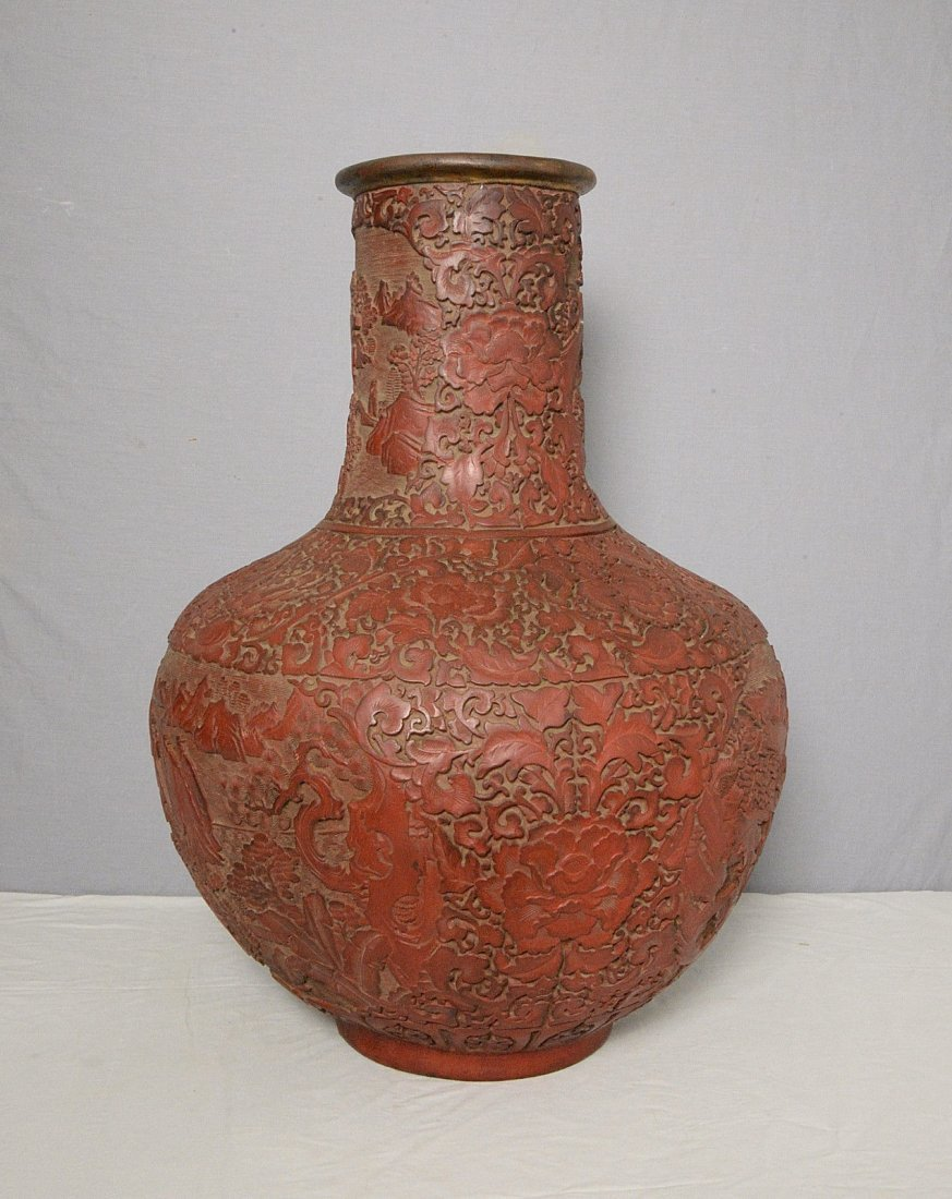 Large Chinese Red Lacquer Wear Ball Vase With Mark