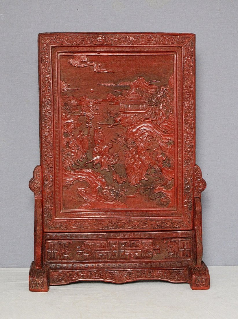 Chinese Red Lacquerware Of Table Screen