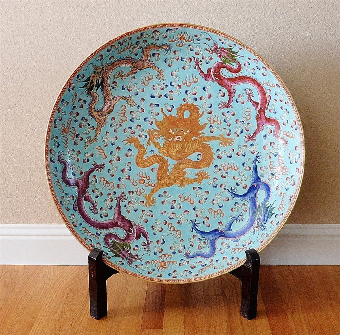 Large Chinese Famille Rose Porcelain Charger With Mark