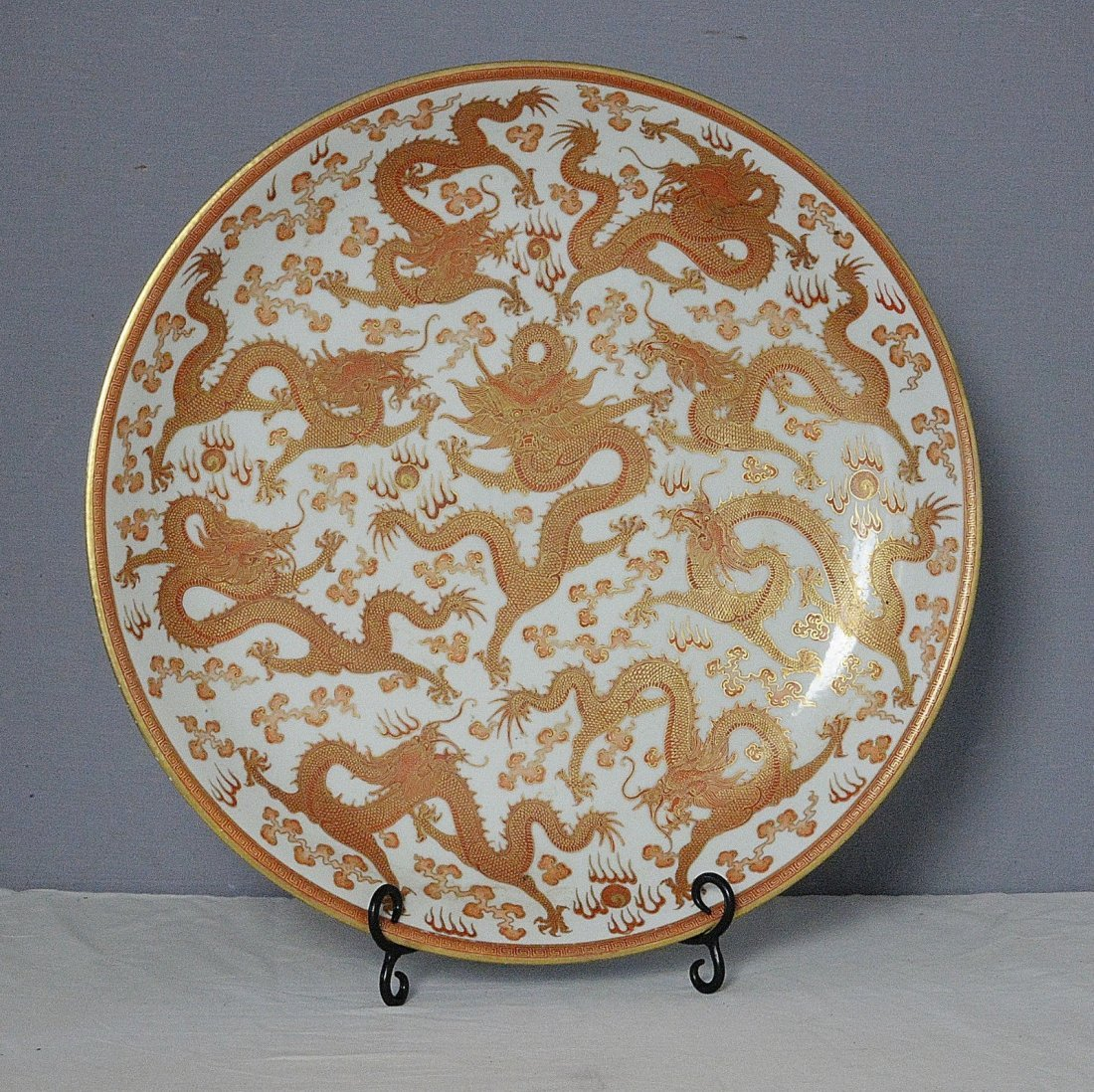Large Chinese Gilt Red Glaze Porcelain Plate With Mark