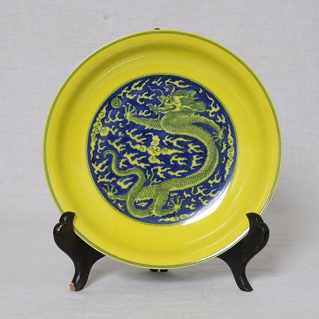 Chinese Blue and Yellow Glaze Porcelain Plate With Mark