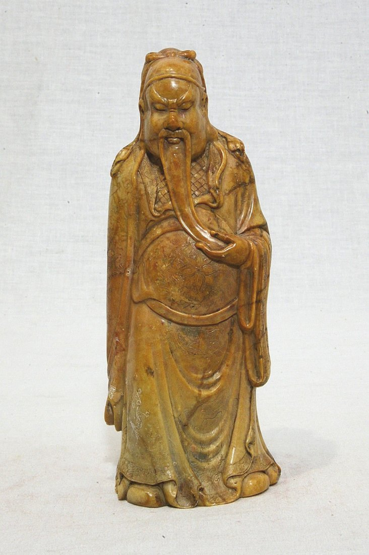 Well Hand Carved Chinese Shou-Shan Stone Scholar Figure