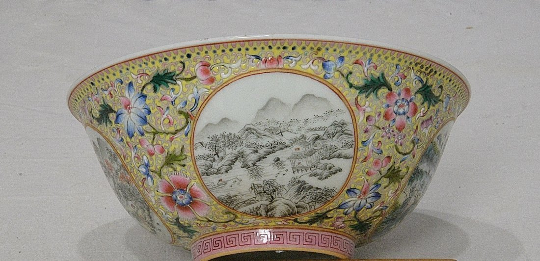 Chinese Famille Rose Porcelain Bowl With Mark - 2