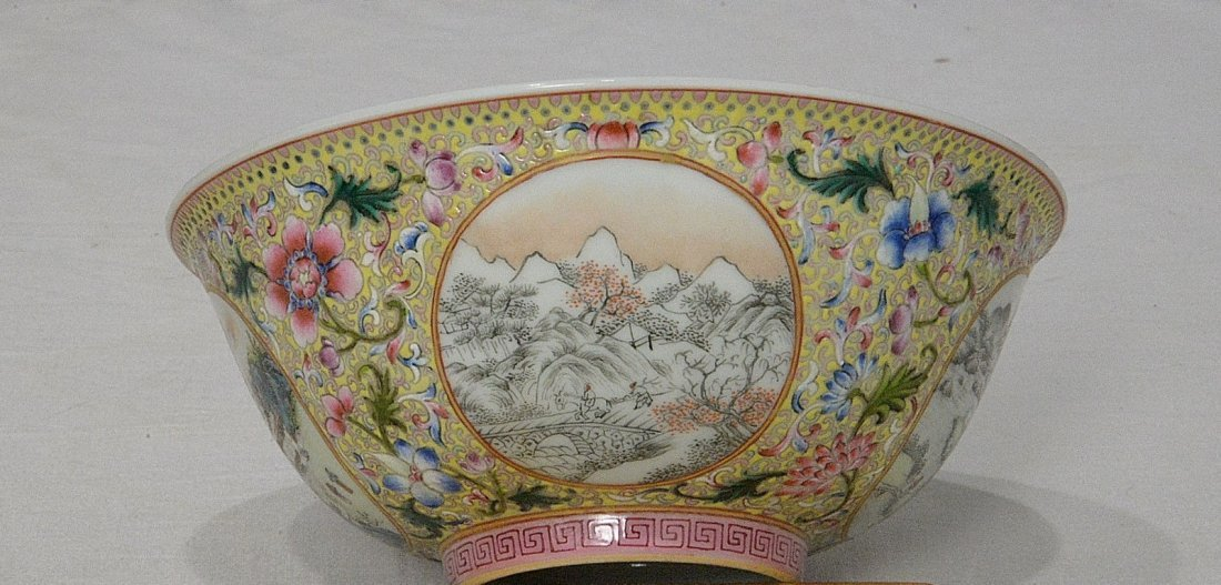 Chinese Famille Rose Porcelain Bowl With Mark - 4