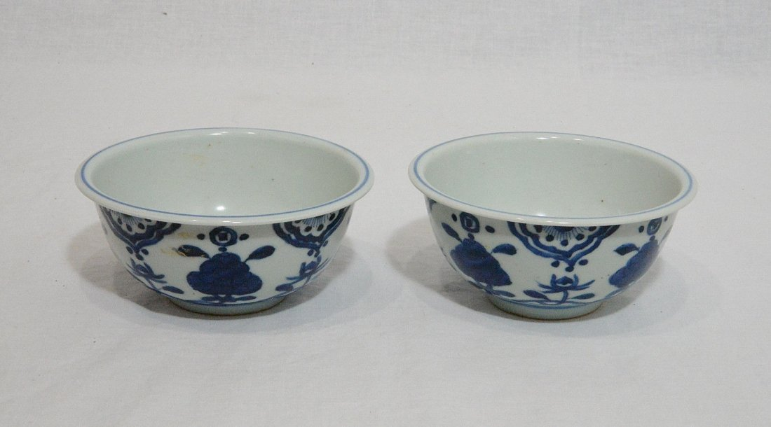 Pair of Chinese Blue and White Porcelain Bowl