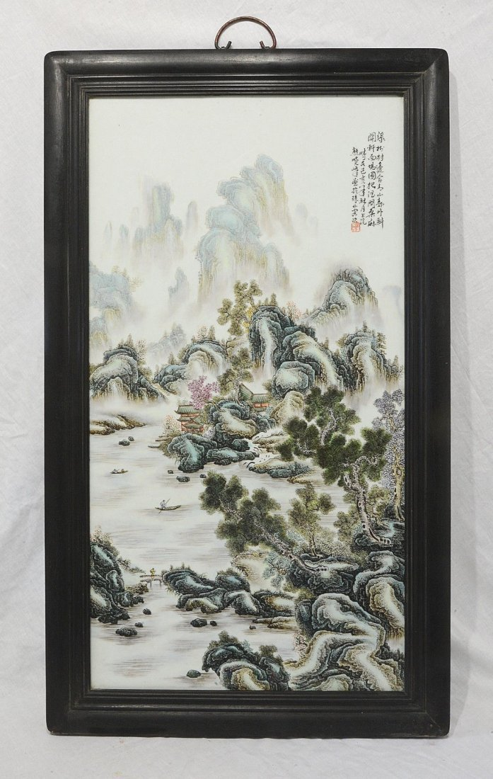 Large Chinese Famille Vert Porcelain Plaque With Frame