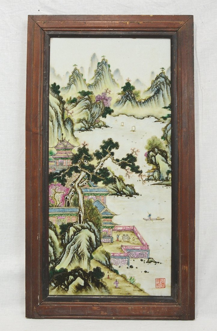 Chinese Famille Rose Porcelain Plaque With Wood Frame
